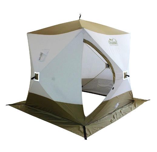 "Палатка для зимней рыбалки ""КУБ"" Следопыт ""Premium"" трехслойная, 1,8 м х 1,8 м, 3-х местная, Oxford 240D PU 2000, (белый/олива)"